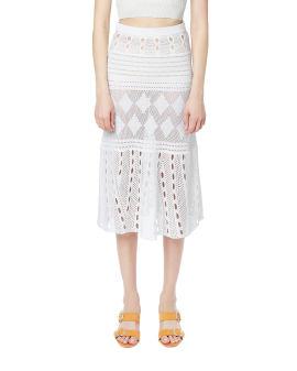 Embroidered crochet skirt