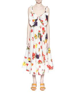 Bow bodice tutti frutti print dress
