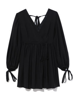 Self-tie flared dress