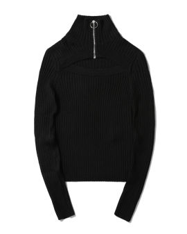 Turtleneck cut-out ribbed sweater