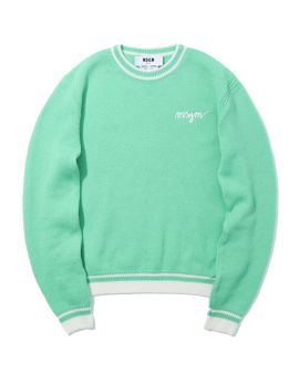 Cursive logo embroidered wool-blend sweater