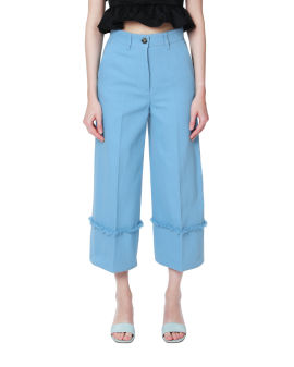 Frayed wide-leg pants