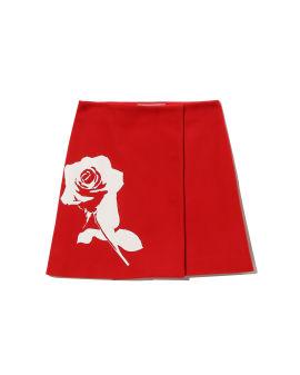 Rose print wrap skirt