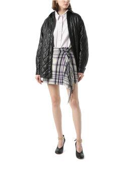Draped plaid skirt