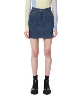 Stripe taped denim skirt