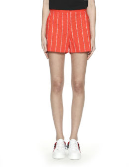 Striped logo print shorts