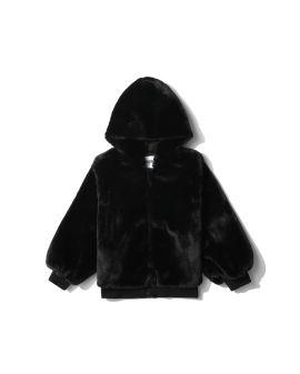 Zip-up fur sweatshirt