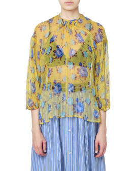 Semi-sheer floral print top