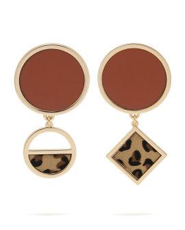 Leopard geometric earrings