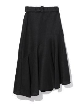 Belted asymmetric skirt