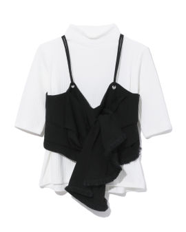 Knotted cropped top and ribbed top set