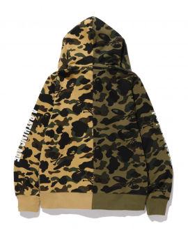 Spliced camo print zip hoodie