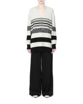 Lofty stripe oversized V-neck sweater