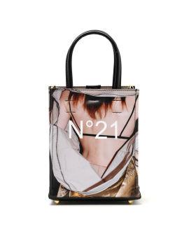 Graphic print micro shopper bag