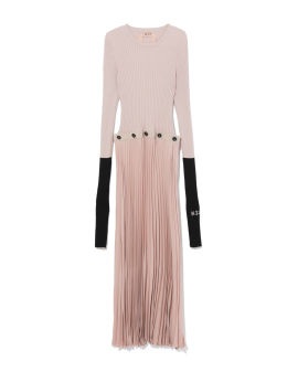 Ribbed pleated dress