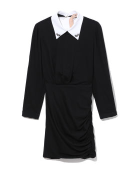 Embellished contrast-collar mini dress