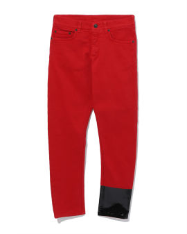 Contrast patent cuff jeans