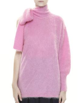Asymmetric one shoulder neck-tie mohair sweater