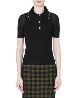 Ribbed-knit polo shirt