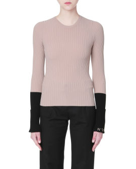 Contrast cuffs ribbed sweater