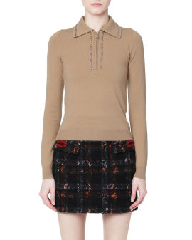 Crystal embellished knit polo top