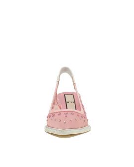 Crystal mesh sling back heels