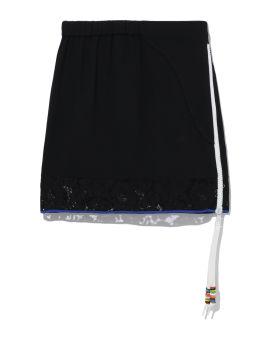 Lace panelled mini skirt