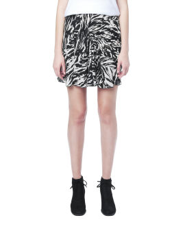 Animal print ruched skirt
