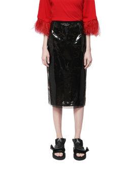 Vinyl-effect pencil skirt