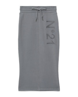 Logo embroidered midi skirt