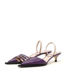 Buckled slingback heels