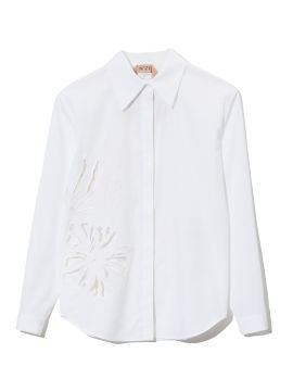 Floral embroidered cut out long sleeve blouse