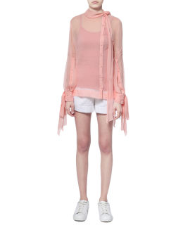Asymmetrical sheer blouse