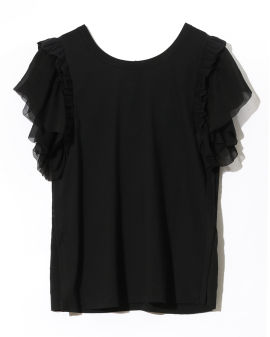 Tiered sleeve perforated back T-shirt