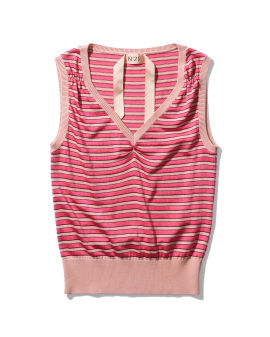 Gathered stripe knit tank top