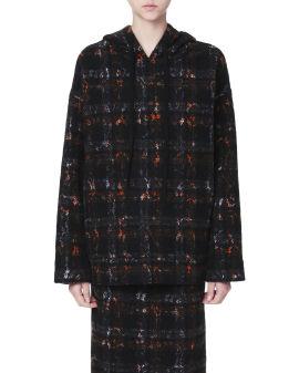 Hooded tweed top