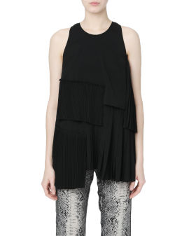 Pleated patchwork sleeveless top