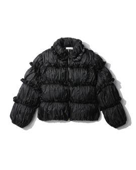 Frilled detail down jacket
