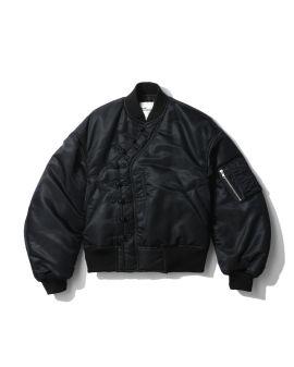 Asymmetric placket bomber jacket