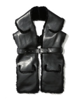 Belted faux leather scarf vest
