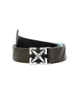 Diagonal arrow leather belt