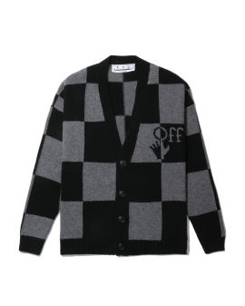 Check knit cardigan