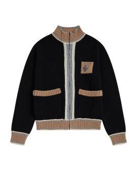 Varsity knit bomber cardigan