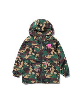 Camo peace motif windbreaker jacket