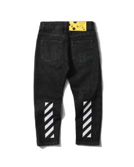 Slim diagonal denim pants