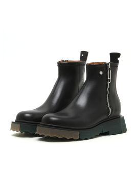Sponge sole leather zip boots