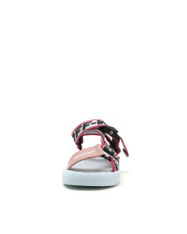 Logo taped leather sandals
