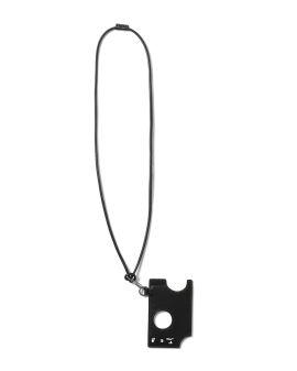 Logo leather hole cardholder