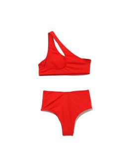 Logo one-shoulder bikini