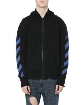 Diag knit zip hoodie